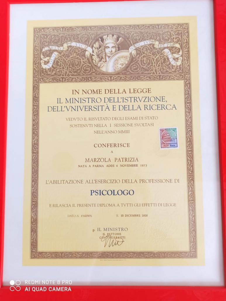 Abilitazione esercizio della professione psicologo Patrizia Marzola