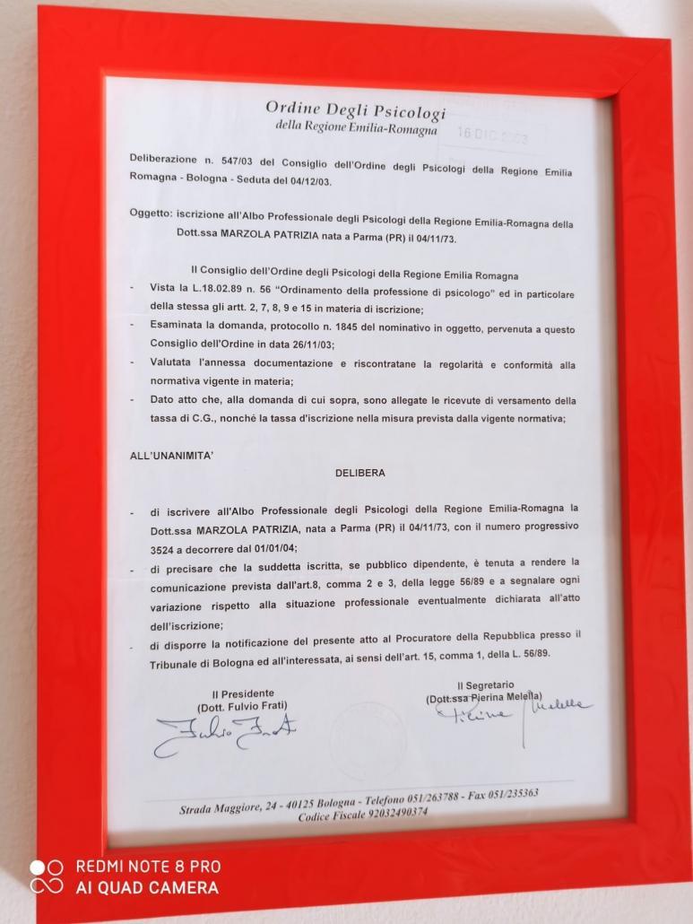 Iscrizione Albo Psicologi Emilia Romagna Patrizia Marzola